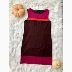 Pink and brown colorblocked sheath dress